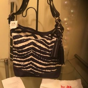 COACH Legacy Zebra Print Purple white bag NEW Tags